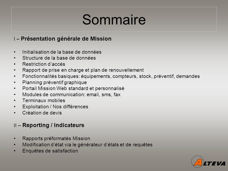 Sommaire I – Présentation générale de Mission