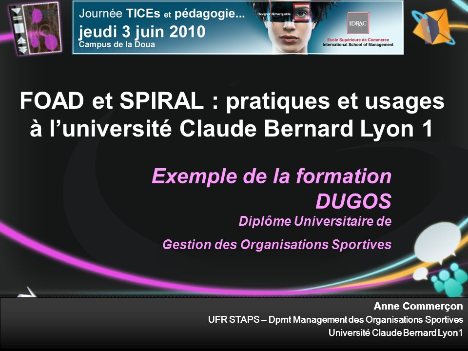 FOAD et SPIRAL : pratiques et usages à l'université Claude Bernard Lyon 1