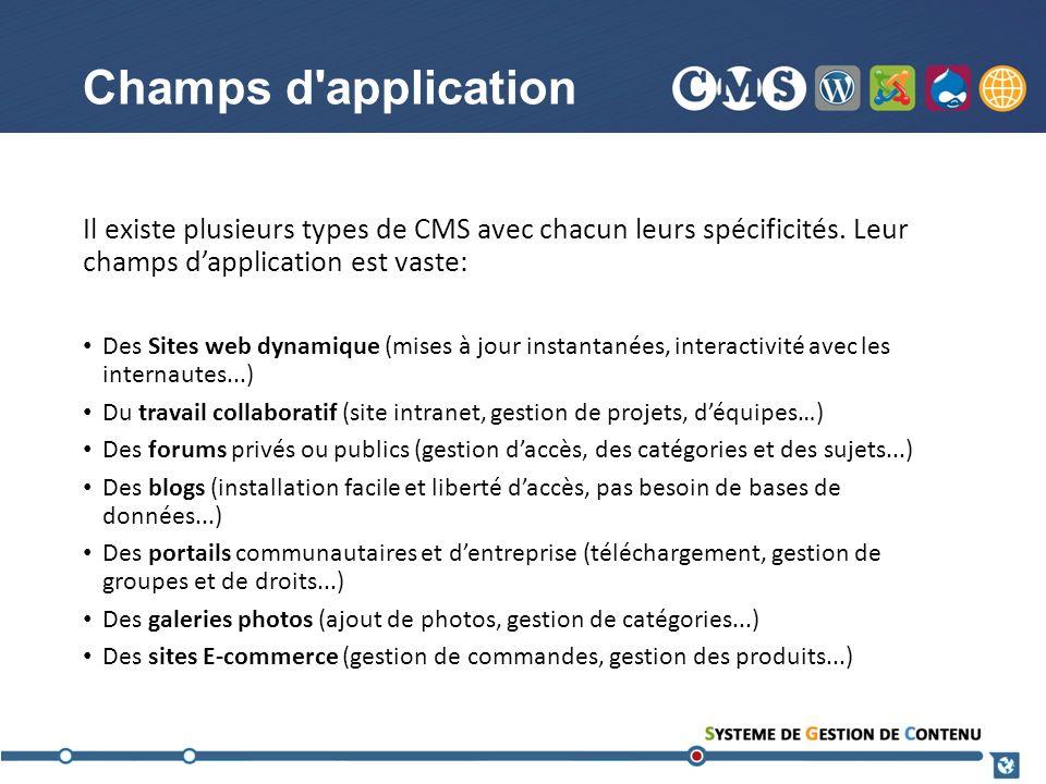 Champs d application Il existe plusieurs types de CMS avec chacun leurs spécificités. Leur champs d'application est vaste: