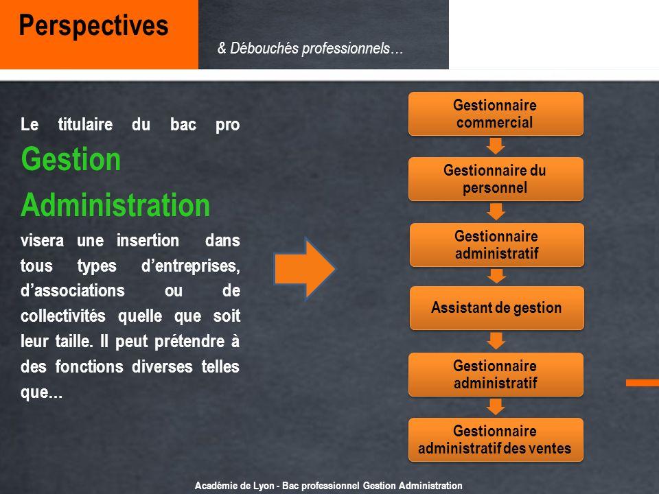 Perspectives & Débouchés professionnels… Gestionnaire commercial. Gestionnaire du personnel. Gestionnaire administratif.