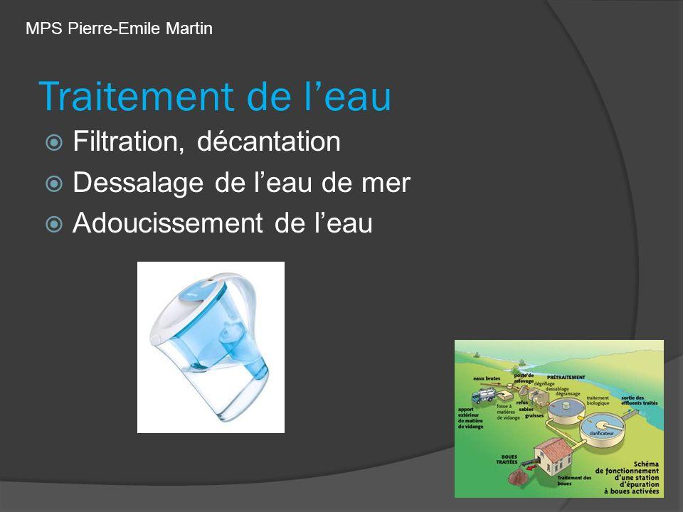 Traitement de l'eau Filtration, décantation Dessalage de l'eau de mer
