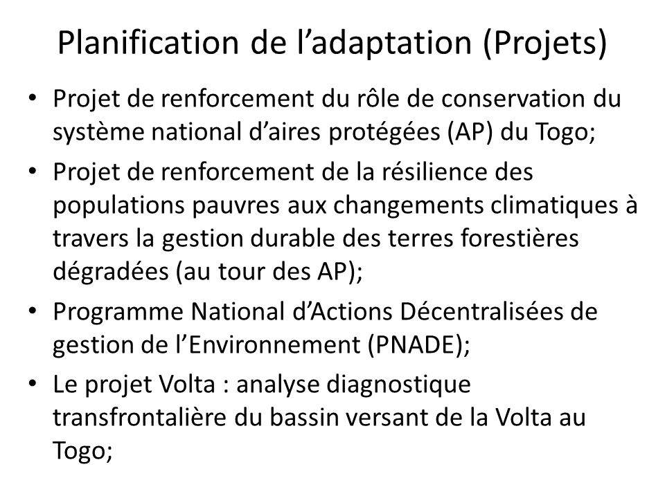 Planification de l'adaptation (Projets)