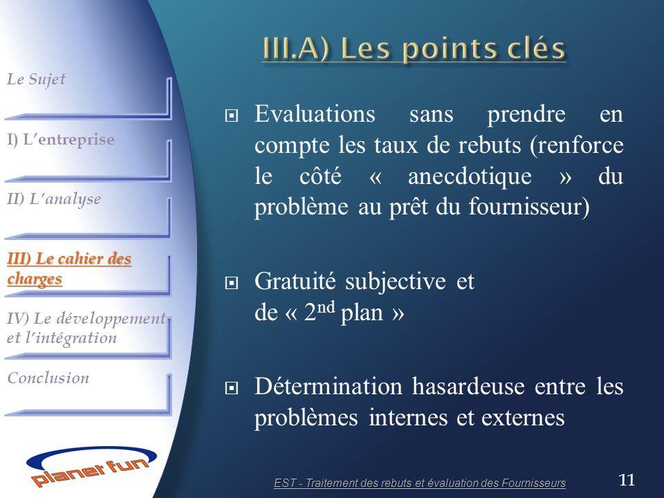 EST - Traitement des rebuts et évaluation des Fournisseurs