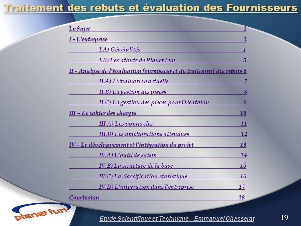 Traitement des rebuts et évaluation des Fournisseurs