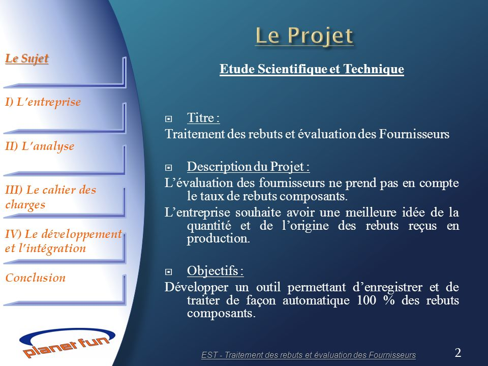 Etude Scientifique et Technique