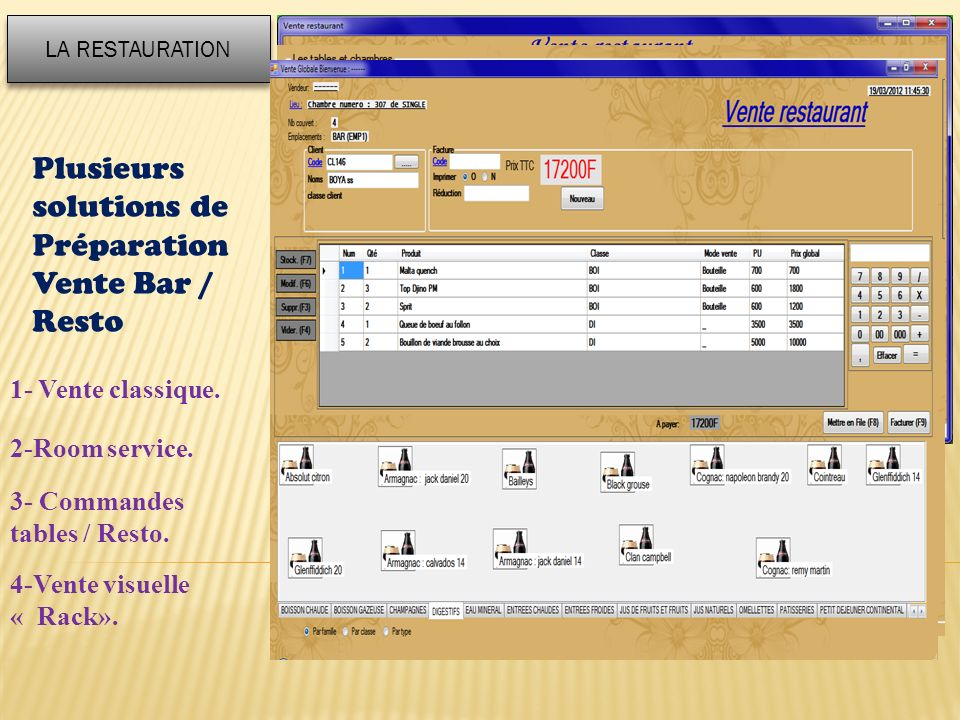 Plusieurs solutions de Préparation Vente Bar / Resto