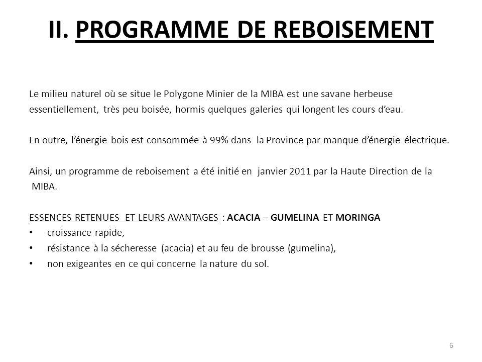 II. PROGRAMME DE REBOISEMENT