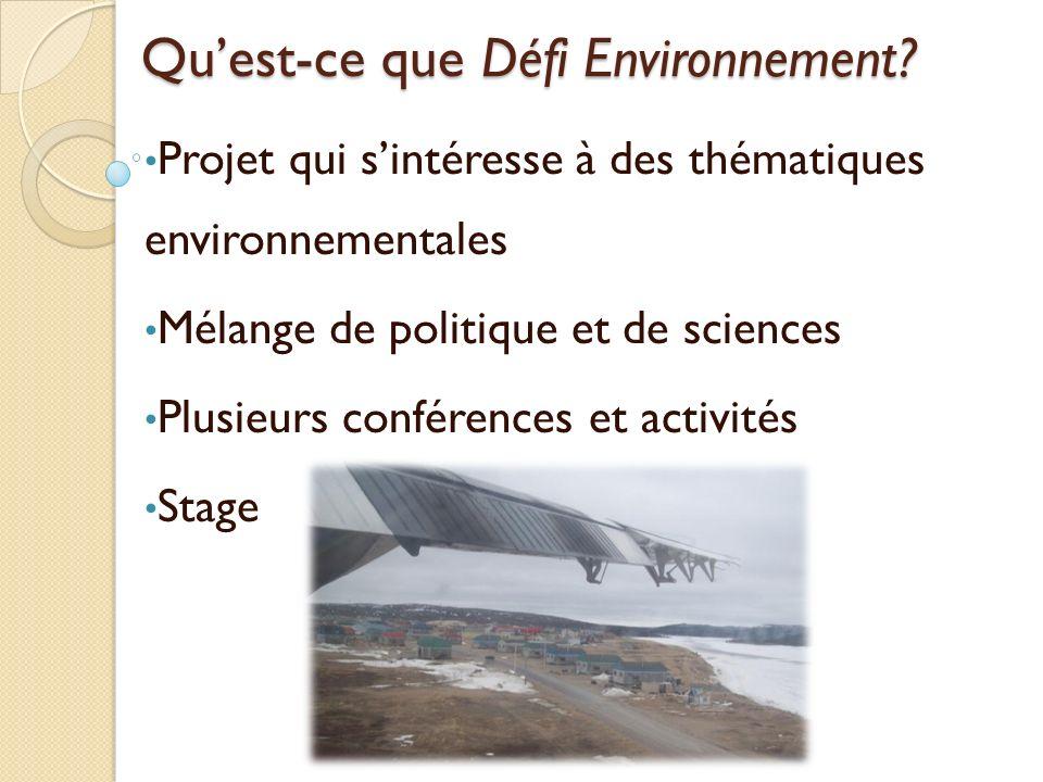 Qu'est-ce que Défi Environnement