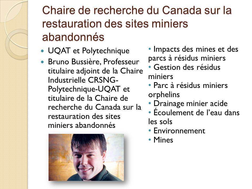 Chaire de recherche du Canada sur la restauration des sites miniers abandonnés