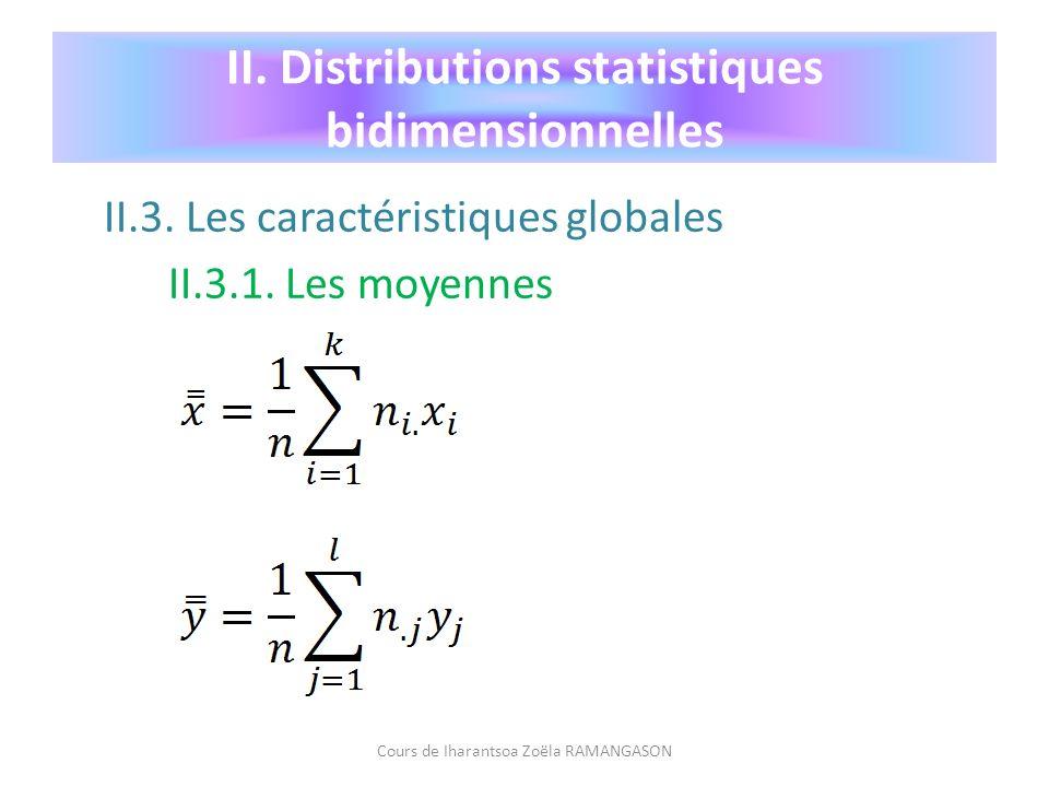 II. Distributions statistiques bidimensionnelles