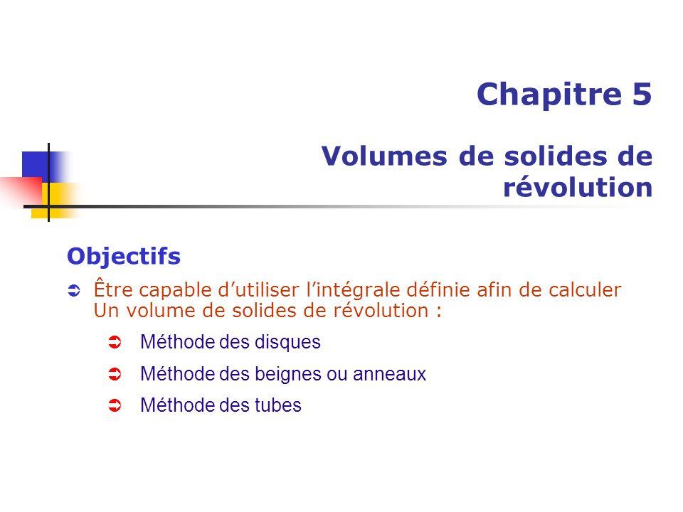Chapitre 5 Volumes de solides de révolution