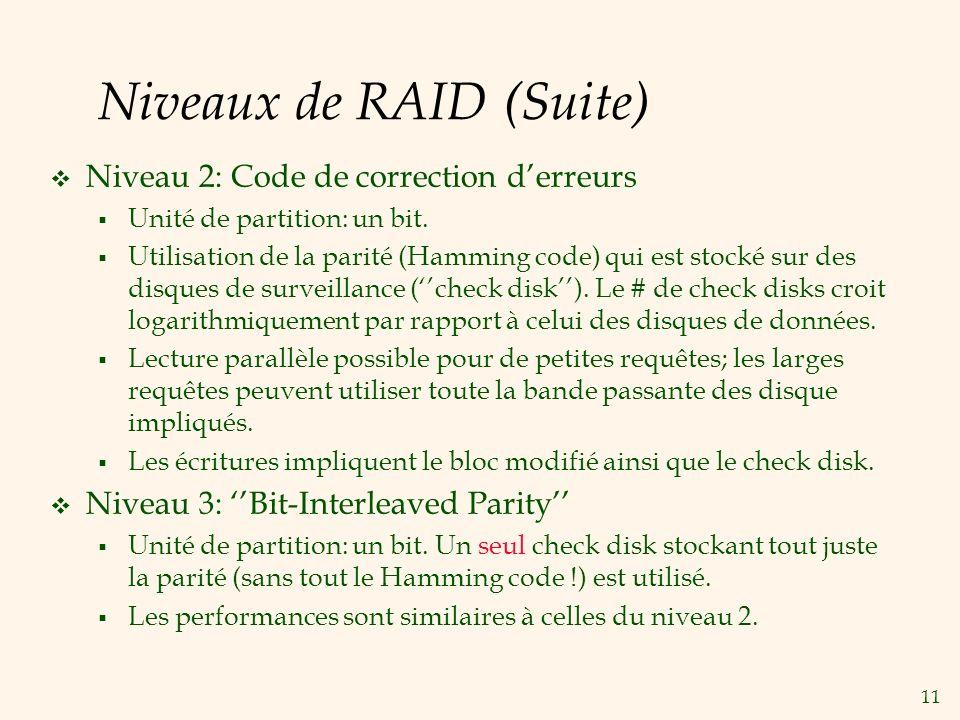 Niveaux de RAID (Suite)