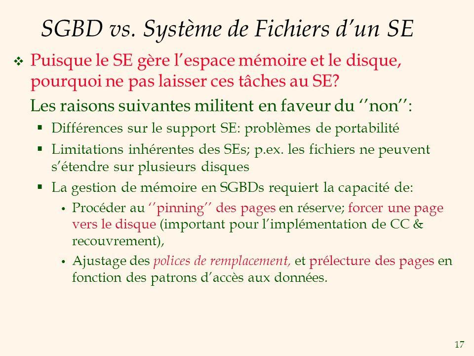 SGBD vs. Système de Fichiers d'un SE