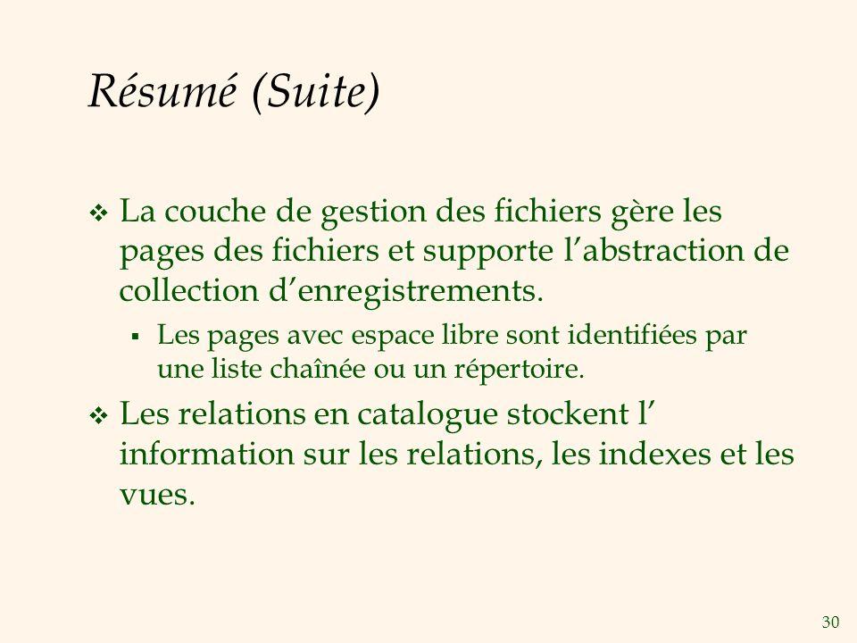Résumé (Suite) La couche de gestion des fichiers gère les pages des fichiers et supporte l'abstraction de collection d'enregistrements.