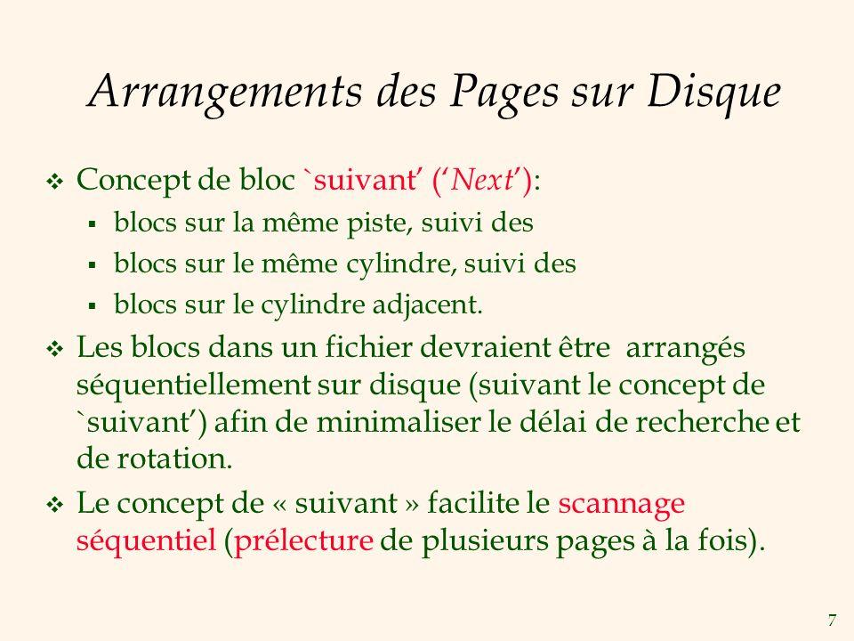 Arrangements des Pages sur Disque