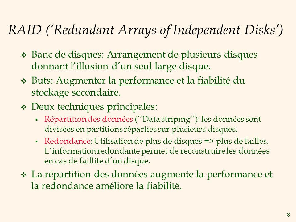 RAID ('Redundant Arrays of Independent Disks')