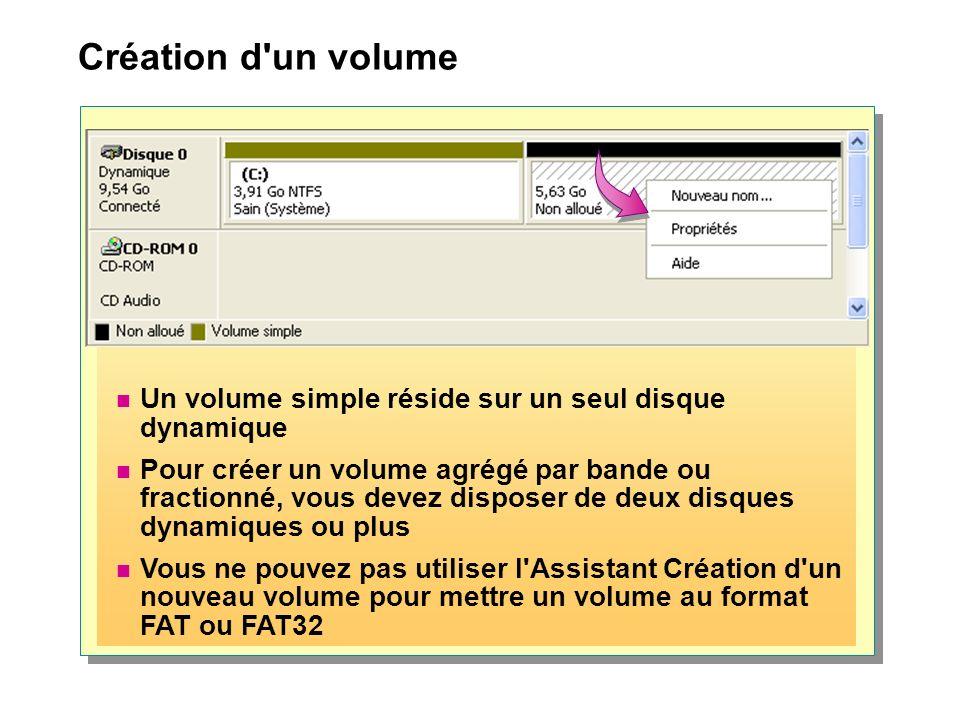 Création d un volume Un volume simple réside sur un seul disque dynamique.