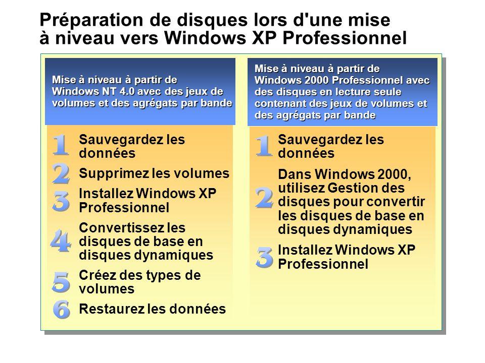 Préparation de disques lors d une mise à niveau vers Windows XP Professionnel