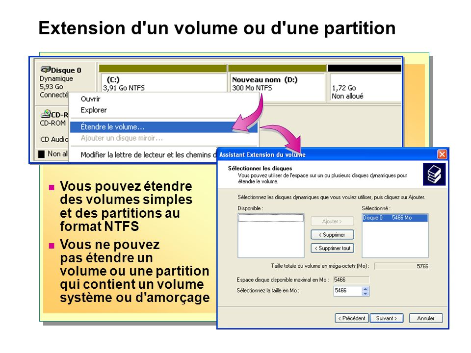 Extension d un volume ou d une partition