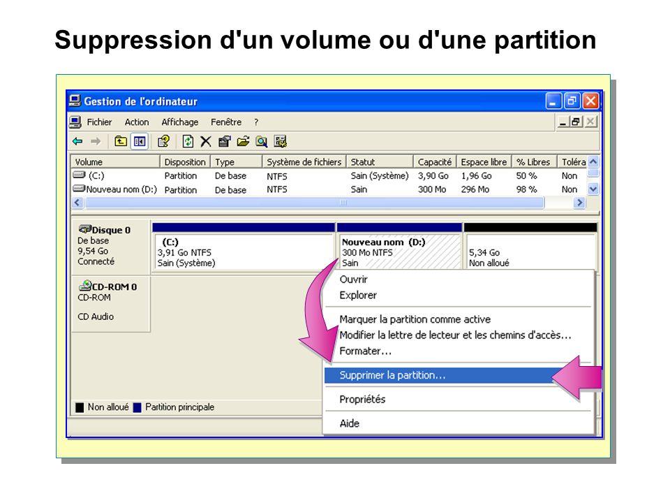Suppression d un volume ou d une partition