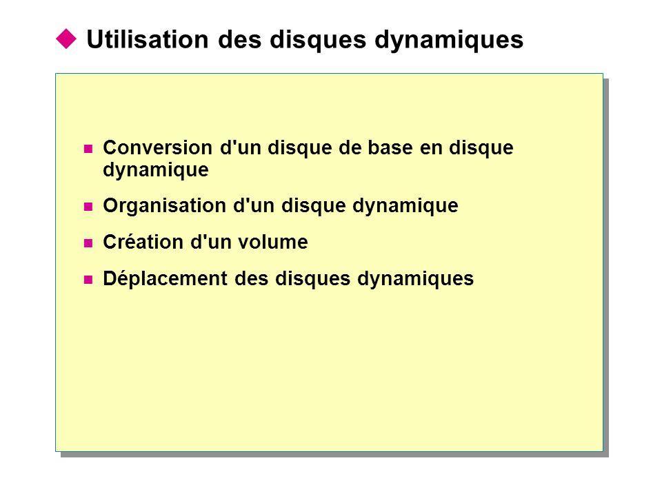 Utilisation des disques dynamiques