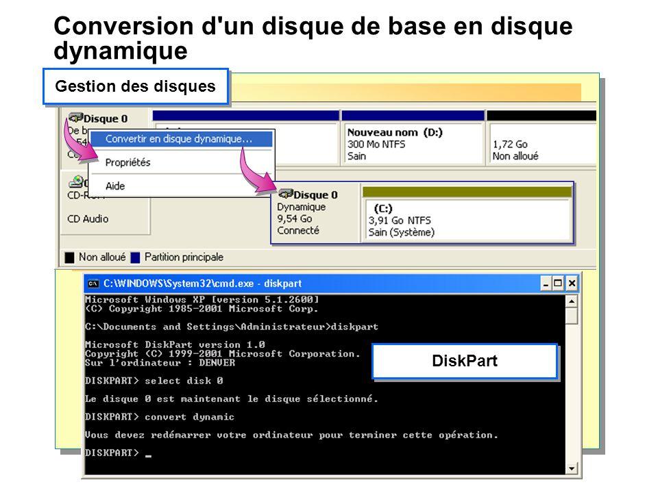 Conversion d un disque de base en disque dynamique