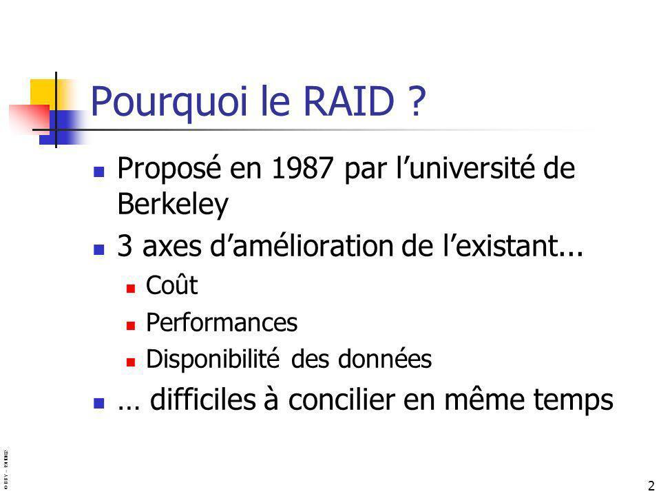 Pourquoi le RAID Proposé en 1987 par l'université de Berkeley