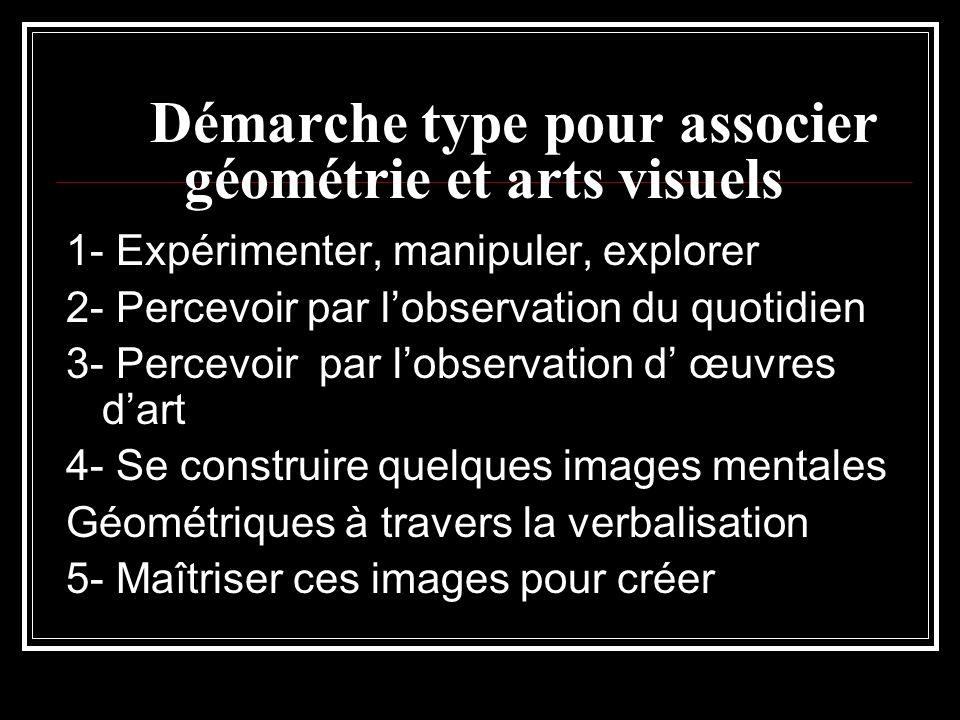 Démarche type pour associer géométrie et arts visuels