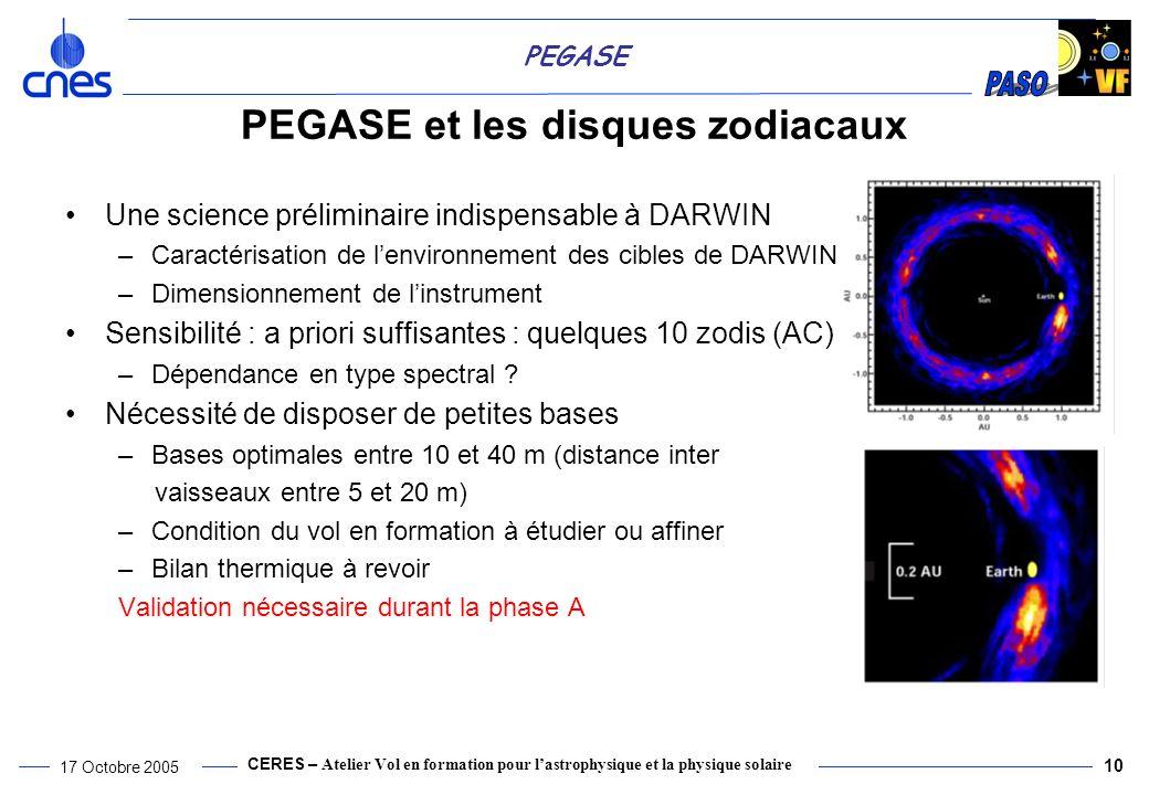 PEGASE et les disques zodiacaux