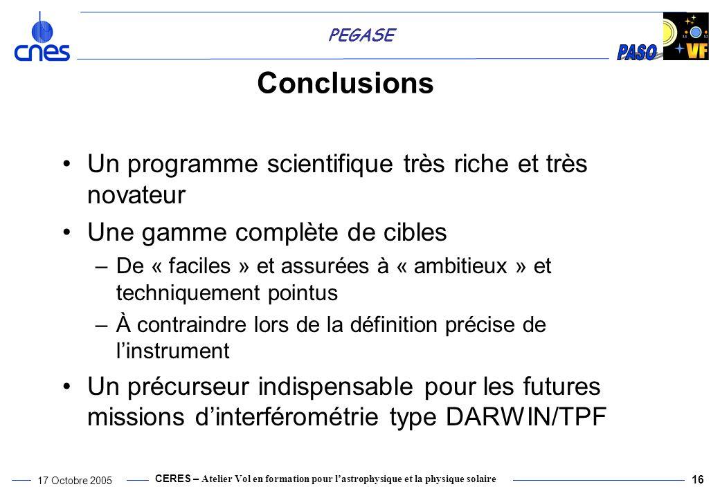 Conclusions Un programme scientifique très riche et très novateur