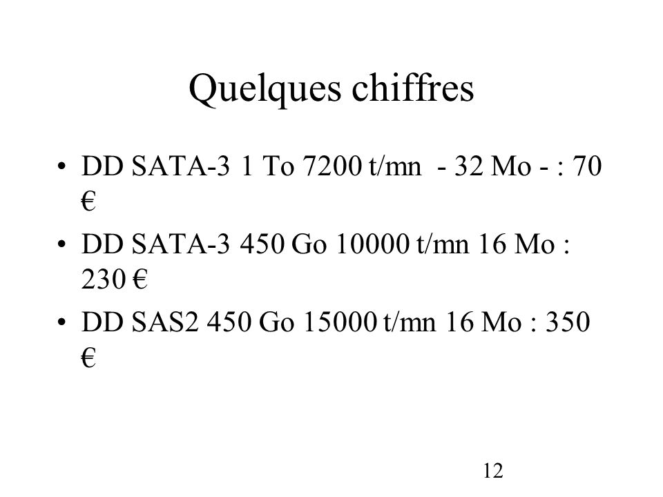 Quelques chiffres DD SATA-3 1 To 7200 t/mn - 32 Mo - : 70 €