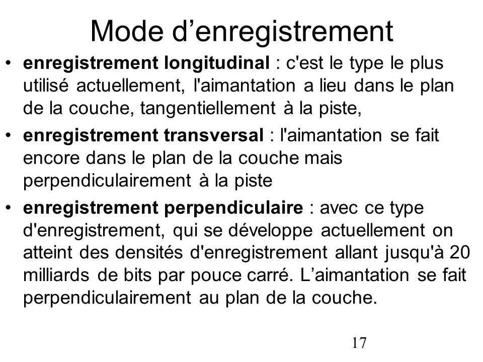 Mode d'enregistrement