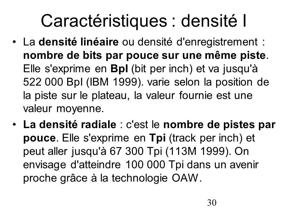 Caractéristiques : densité I
