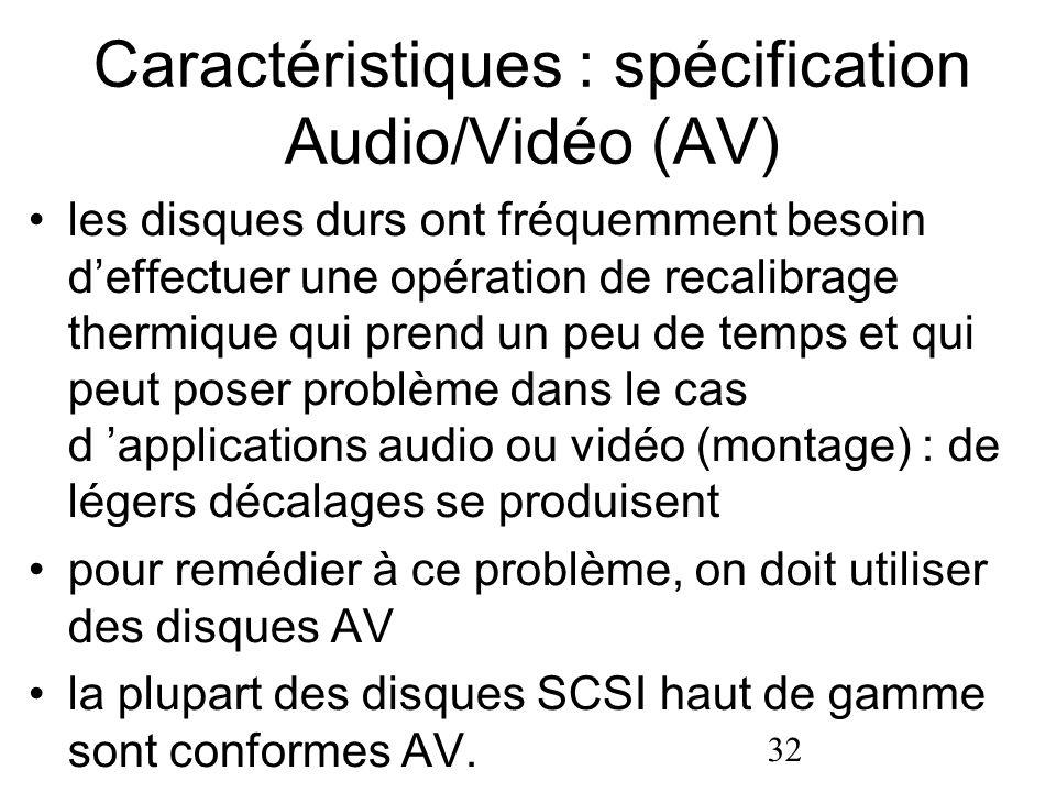Caractéristiques : spécification Audio/Vidéo (AV)