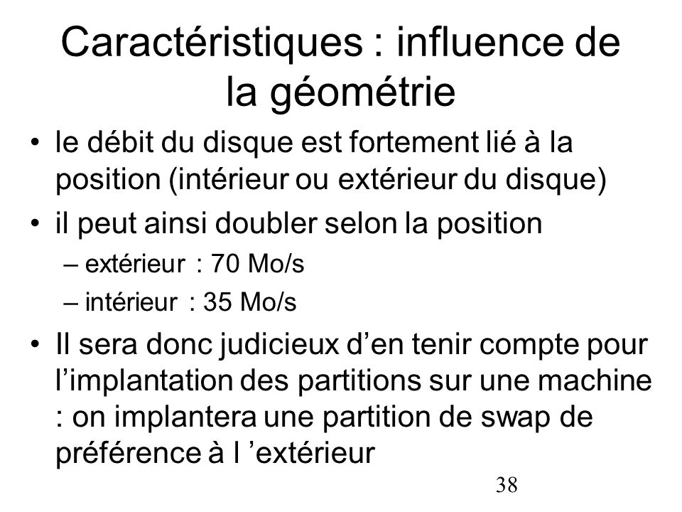 Caractéristiques : influence de la géométrie
