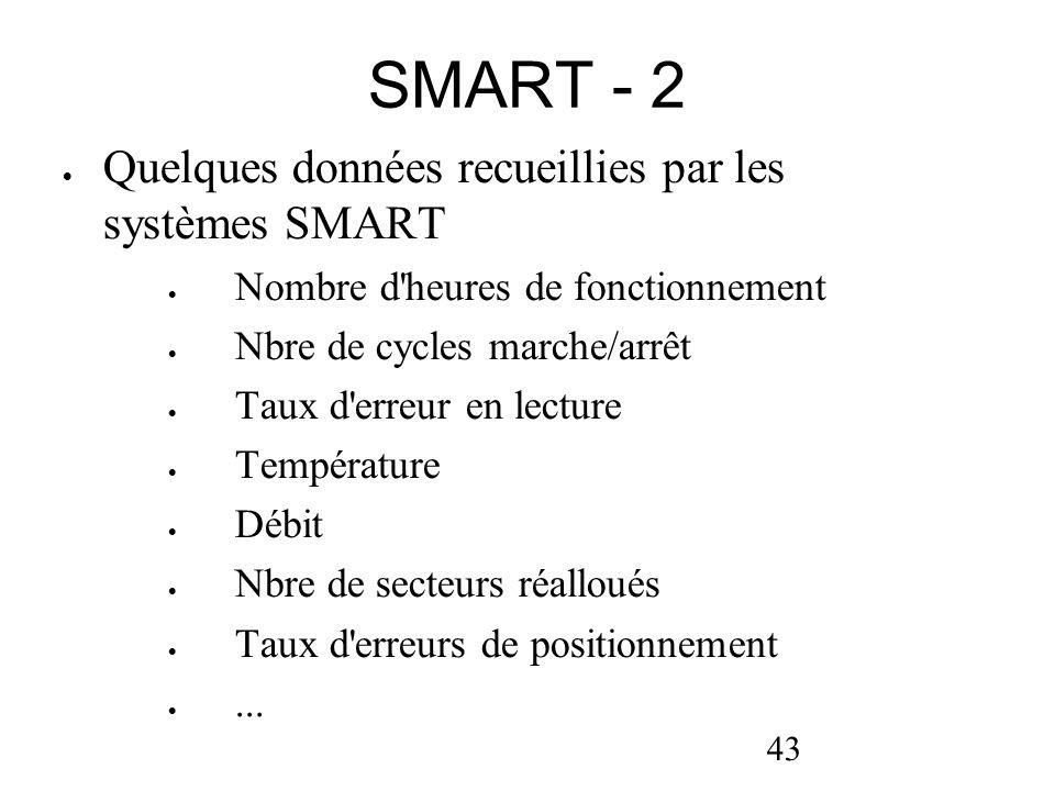 SMART - 2 Quelques données recueillies par les systèmes SMART