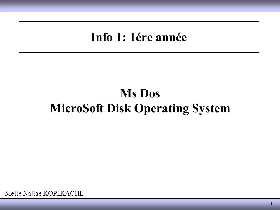 Ms Dos MicroSoft Disk Operating System
