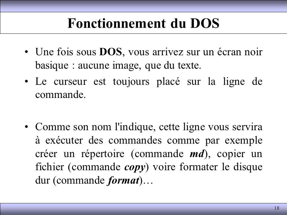 Fonctionnement du DOS Une fois sous DOS, vous arrivez sur un écran noir basique : aucune image, que du texte.