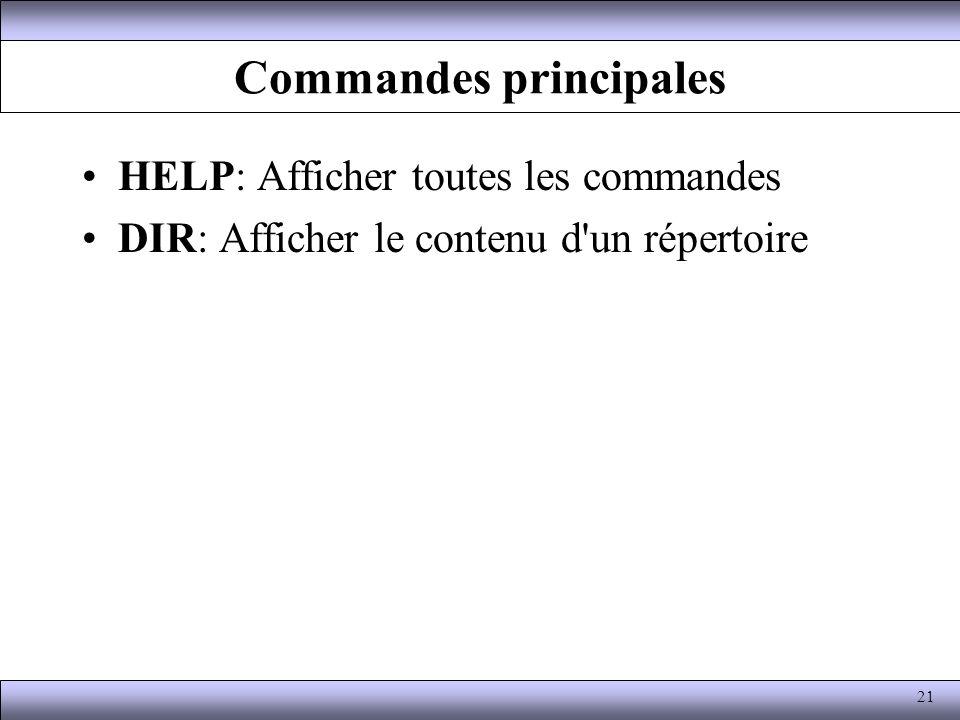 Commandes principales