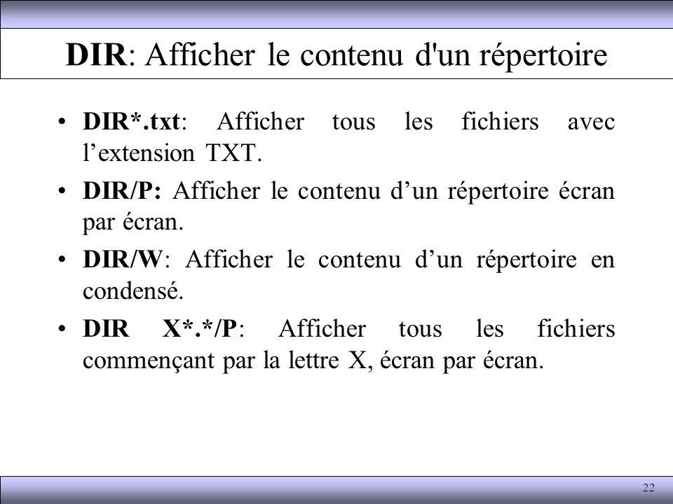 DIR: Afficher le contenu d un répertoire