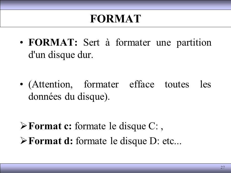 FORMAT FORMAT: Sert à formater une partition d un disque dur.