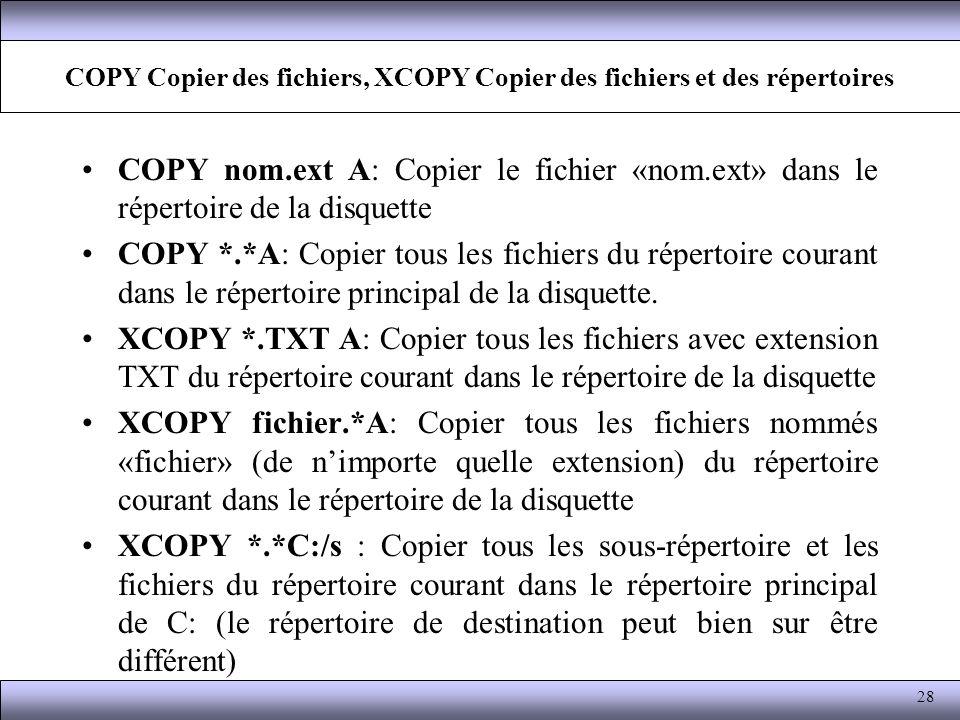 COPY Copier des fichiers, XCOPY Copier des fichiers et des répertoires