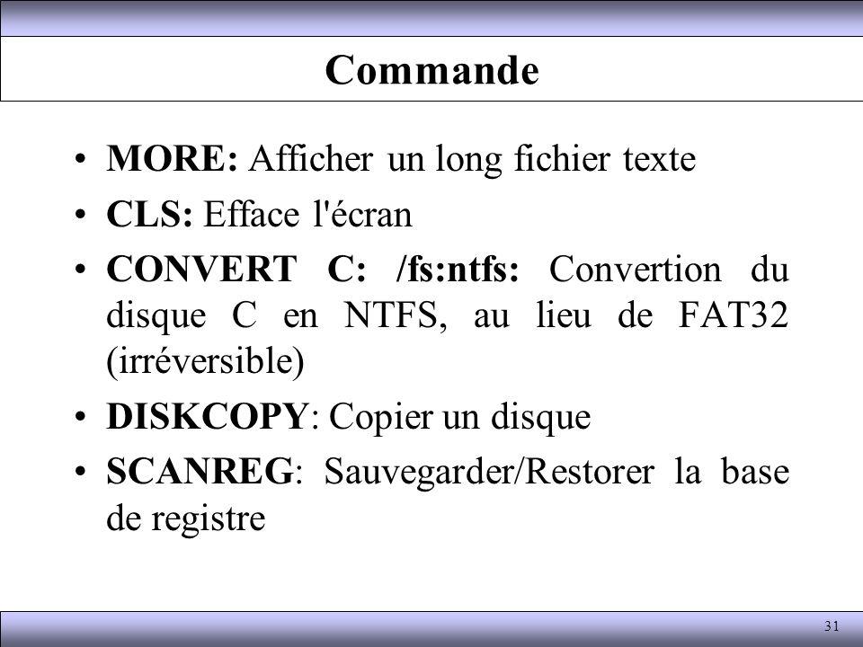 Commande MORE: Afficher un long fichier texte CLS: Efface l écran
