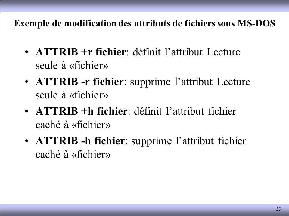 Exemple de modification des attributs de fichiers sous MS-DOS