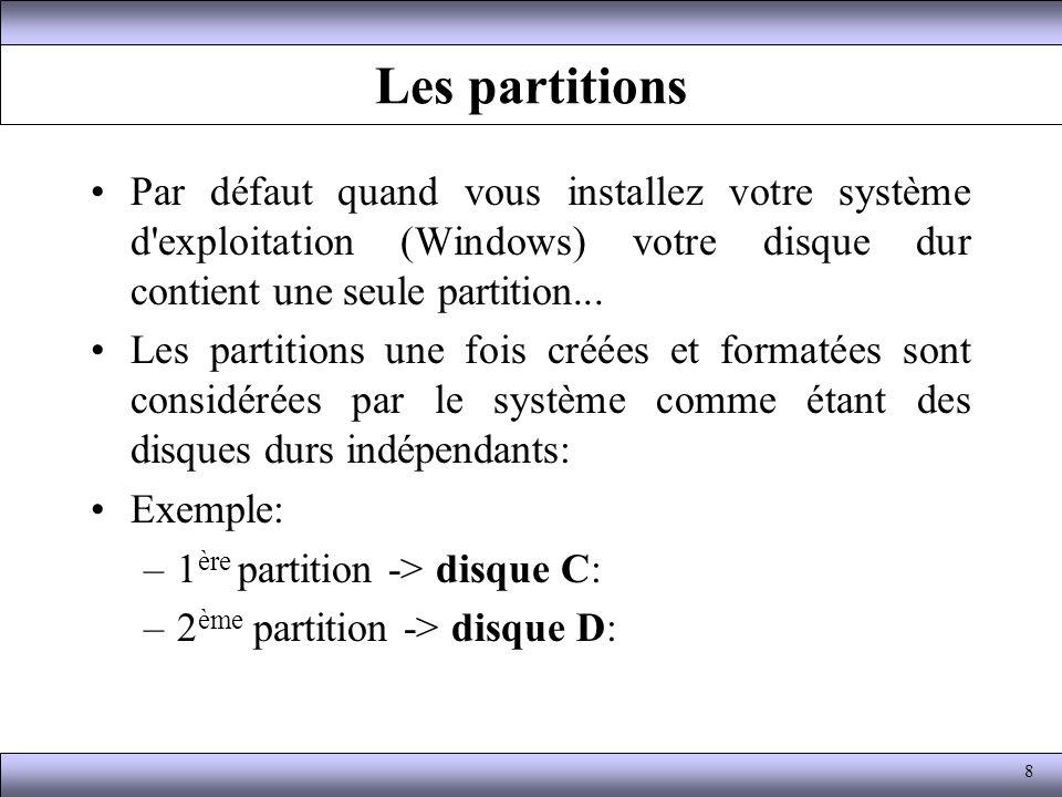 Les partitions Par défaut quand vous installez votre système d exploitation (Windows) votre disque dur contient une seule partition...