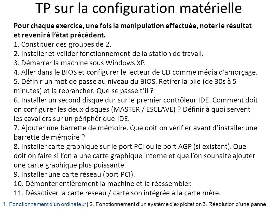 TP sur la configuration matérielle