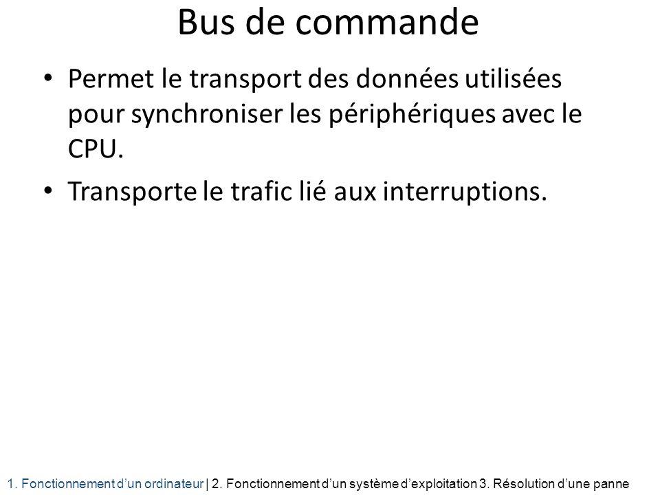 Bus de commande Permet le transport des données utilisées pour synchroniser les périphériques avec le CPU.