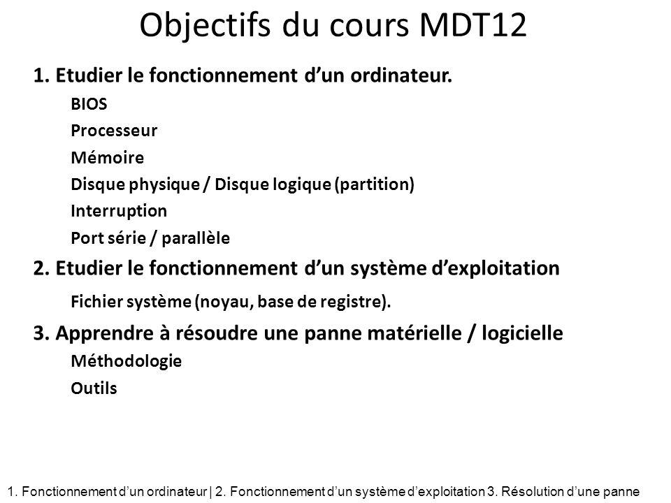 Objectifs du cours MDT12 1. Etudier le fonctionnement d'un ordinateur.