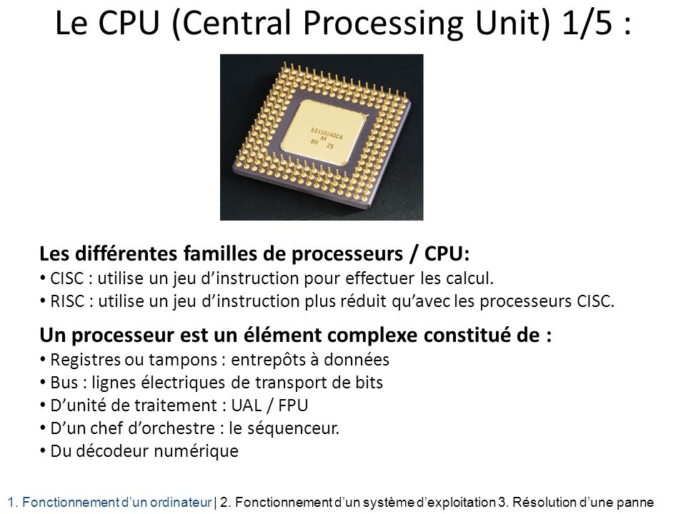Le CPU (Central Processing Unit) 1/5 :