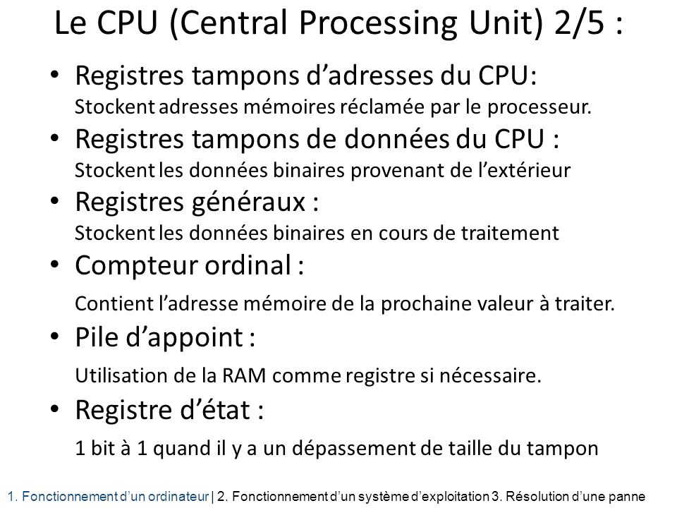 Le CPU (Central Processing Unit) 2/5 :